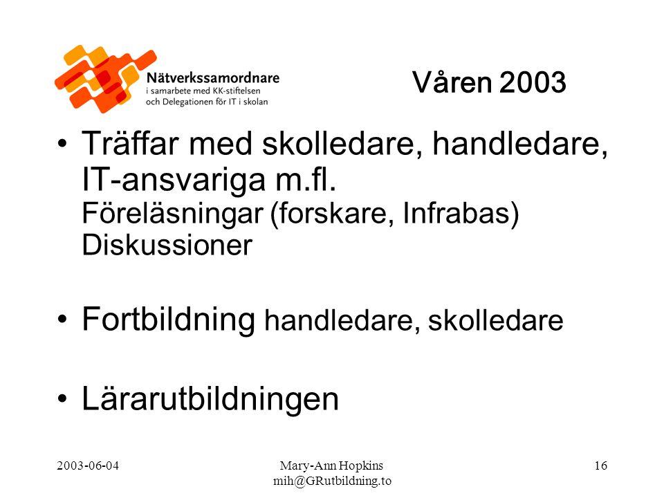 2003-06-04Mary-Ann Hopkins mih@GRutbildning.to 16 Träffar med skolledare, handledare, IT-ansvariga m.fl.