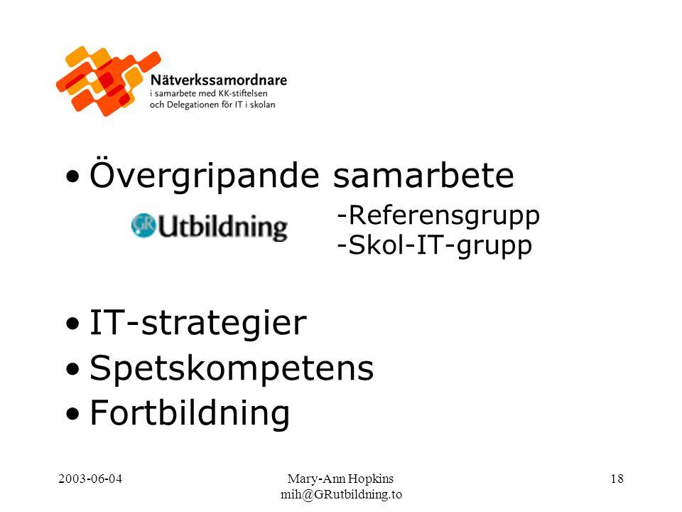 2003-06-04Mary-Ann Hopkins mih@GRutbildning.to 18 Övergripande samarbete -Referensgrupp -Skol-IT-grupp IT-strategier Spetskompetens Fortbildning