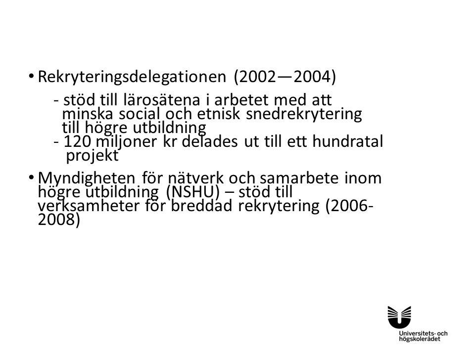 Sv Rekryteringsdelegationen (2002—2004) - stöd till lärosätena i arbetet med att minska social och etnisk snedrekrytering till högre utbildning - 120
