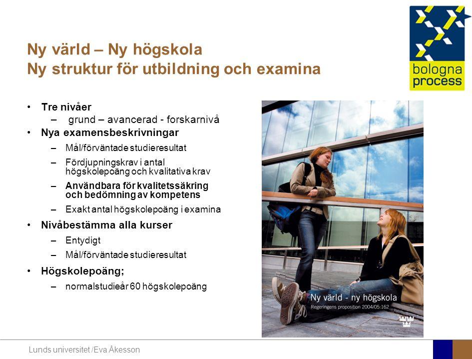 Lunds universitet /Eva Åkesson Ny värld – Ny högskola Ny struktur för utbildning och examina Tre nivåer – grund – avancerad - forskarnivå Nya examensb