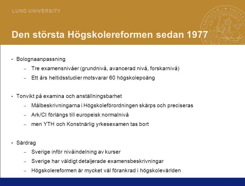 1 L U N D U N I V E R S I T Y Den största Högskolereformen sedan 1977 Bolognaanpassning – Tre examensnivåer (grundnivå, avancerad nivå, forskarnivå) –