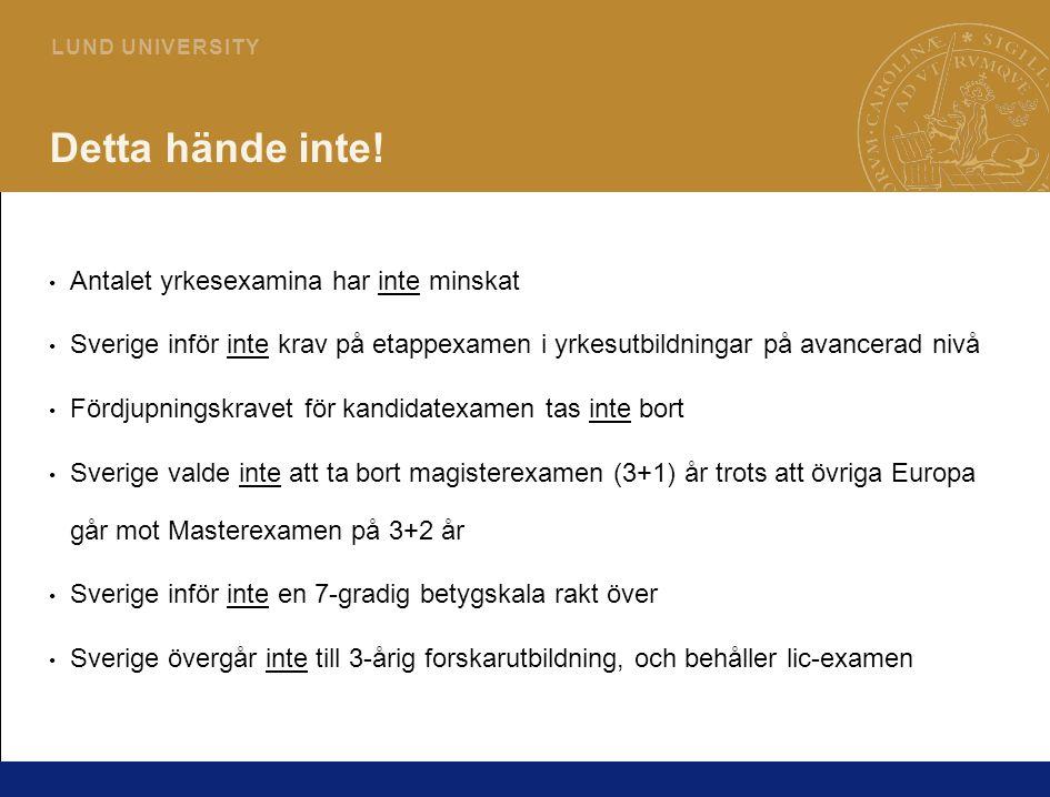 2 L U N D U N I V E R S I T Y Detta hände inte! Antalet yrkesexamina har inte minskat Sverige inför inte krav på etappexamen i yrkesutbildningar på av