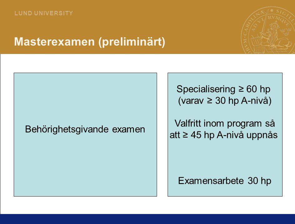 5 L U N D U N I V E R S I T Y Masterexamen (preliminärt) Behörighetsgivande examen Specialisering ≥ 60 hp (varav ≥ 30 hp A-nivå) Valfritt inom program