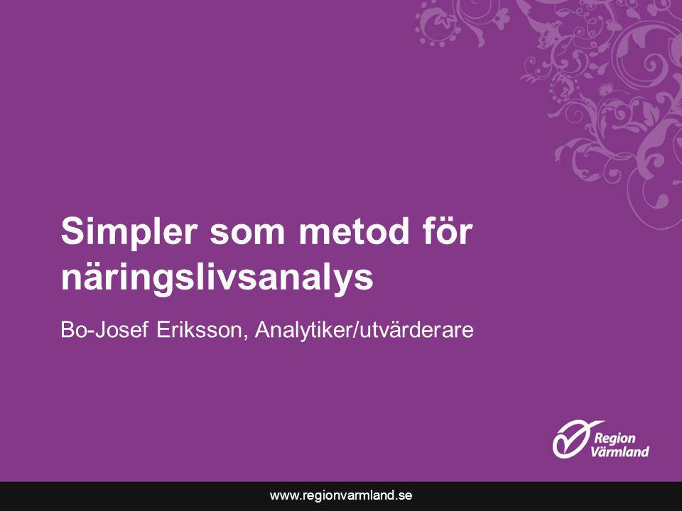 www.regionvarmland.se Simpler som metod för näringslivsanalys Bo-Josef Eriksson, Analytiker/utvärderare