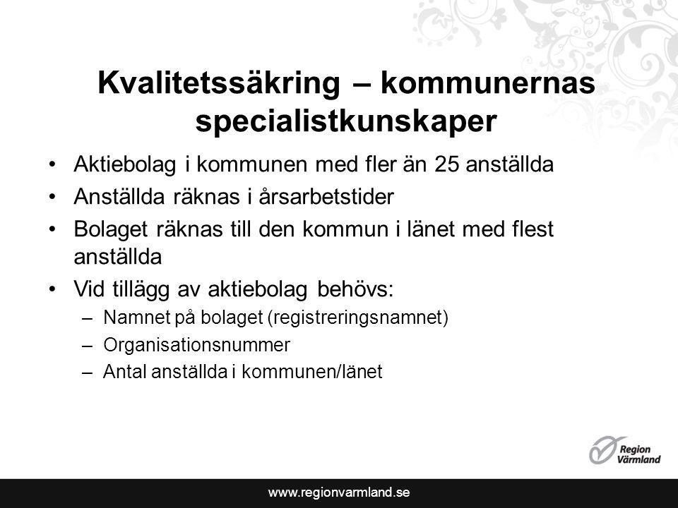 www.regionvarmland.se Kvalitetssäkring – kommunernas specialistkunskaper Aktiebolag i kommunen med fler än 25 anställda Anställda räknas i årsarbetsti
