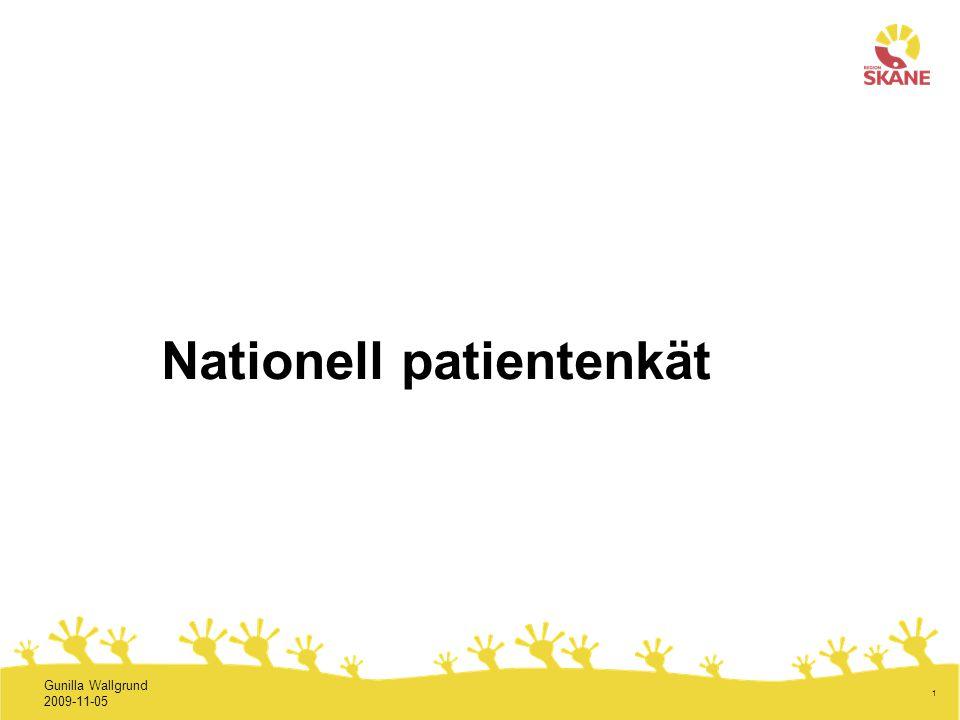 2 Nationell patientenkät (NPE) 2009 Under hösten undersöks patienternas upplevelser av vården vid ca 850 vårdcentraler/motsvarande i 19 landsting med hjälp av Nationell patientenkät 145 av dessa enheter finns i Skåne, dvs.