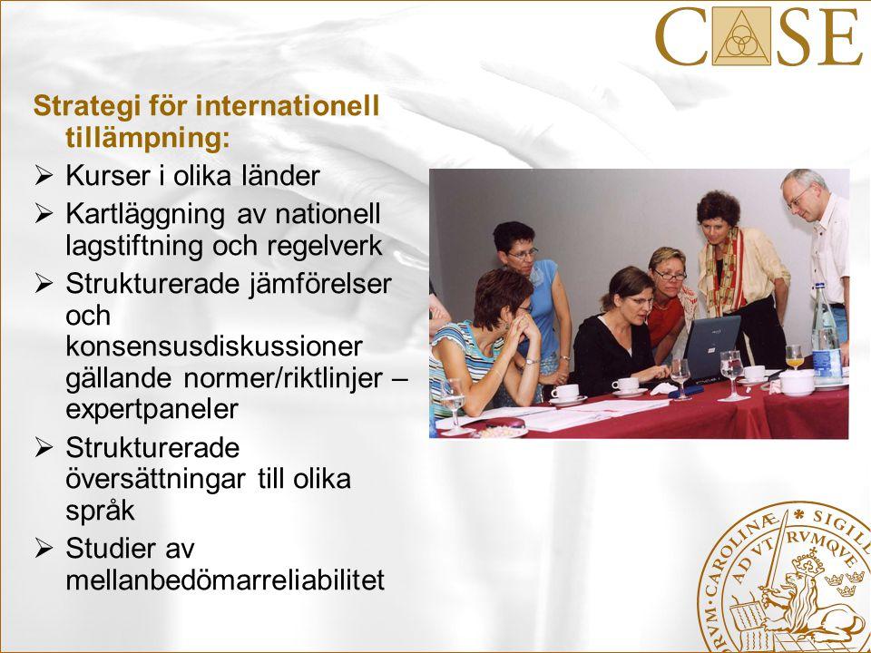 Strategi för internationell tillämpning:  Kurser i olika länder  Kartläggning av nationell lagstiftning och regelverk  Strukturerade jämförelser oc