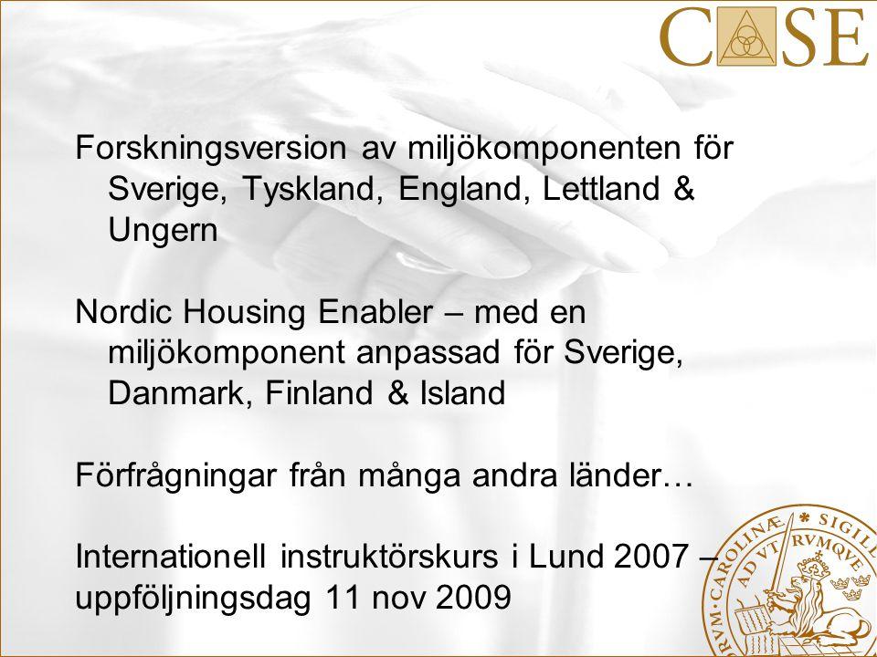 Forskningsversion av miljökomponenten för Sverige, Tyskland, England, Lettland & Ungern Nordic Housing Enabler – med en miljökomponent anpassad för Sv