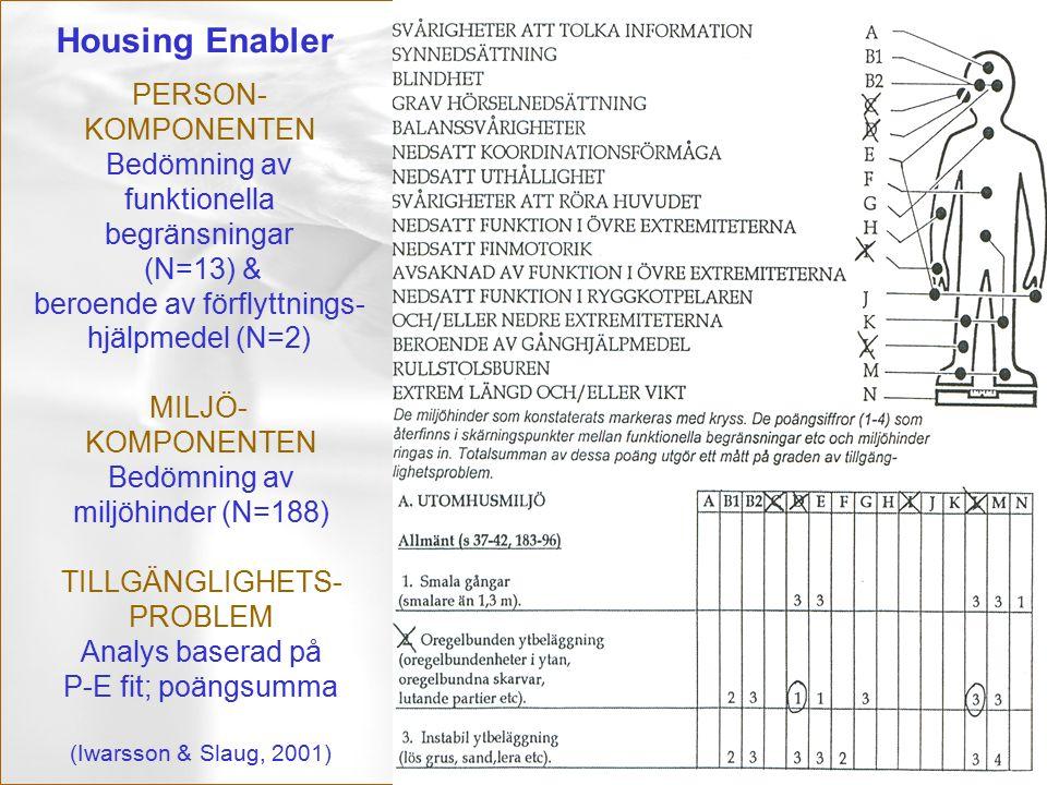 S. Iwarsson/maj 99 PERSON- KOMPONENTEN Bedömning av funktionella begränsningar (N=13) & beroende av förflyttnings- hjälpmedel (N=2) MILJÖ- KOMPONENTEN