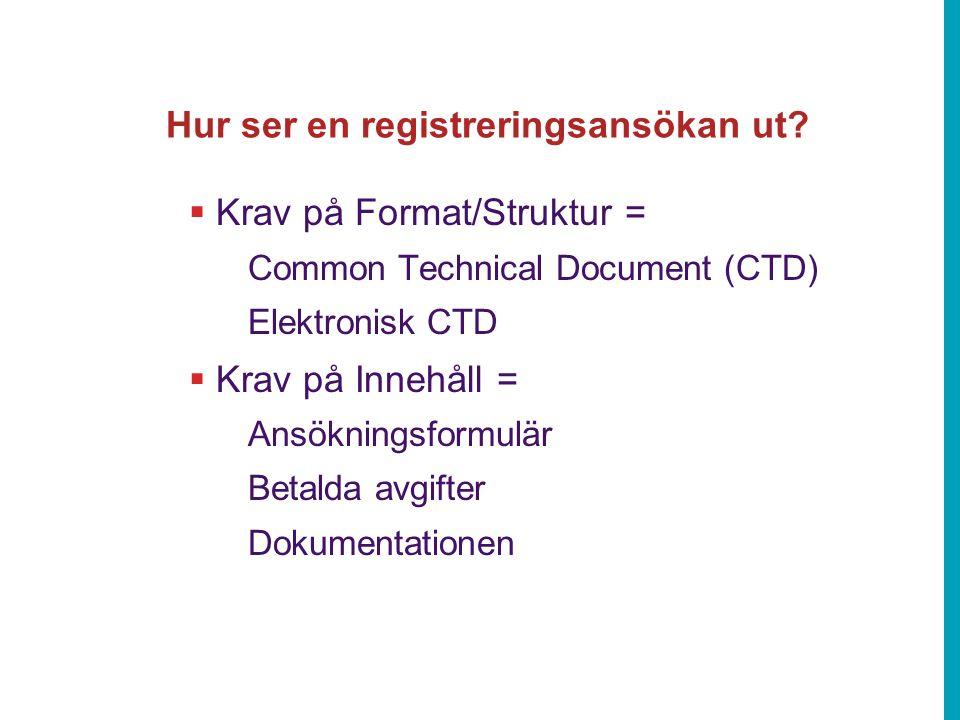Hur ser en registreringsansökan ut?  Krav på Format/Struktur = Common Technical Document (CTD) Elektronisk CTD  Krav på Innehåll = Ansökningsformulä