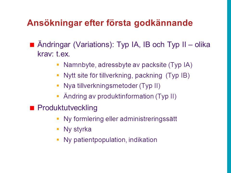 Ansökningar efter första godkännande Ändringar (Variations): Typ IA, IB och Typ II – olika krav: t.ex.  Namnbyte, adressbyte av packsite (Typ IA)  N
