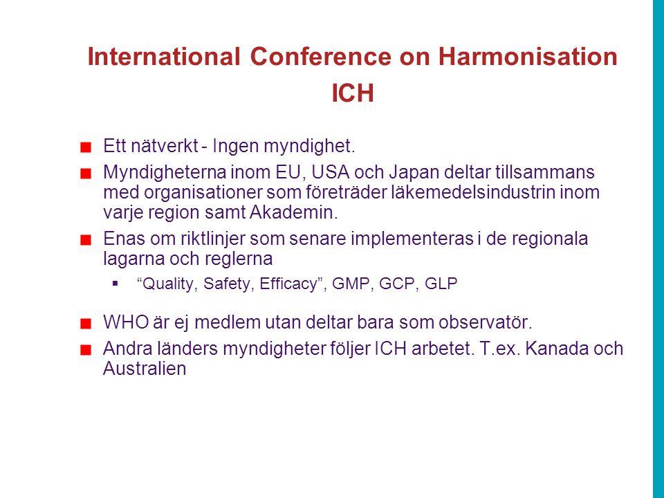 International Conference on Harmonisation ICH Ett nätverkt - Ingen myndighet. Myndigheterna inom EU, USA och Japan deltar tillsammans med organisation