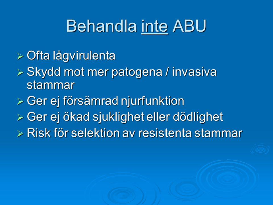 Akut pyelonefrit hos kvinnor  Diagnostik: Nitrittest Nitrittest Granulocyttest Granulocyttest Urinodling + resistensbestämning Urinodling + resistensbestämning Blododling vid sjukhusvård Blododling vid sjukhusvård Kreatinin Kreatinin CRP, vita CRP, vita