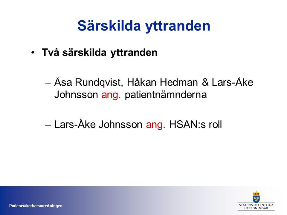 Patientsäkerhetsutredningen Särskilda yttranden Två särskilda yttranden –Åsa Rundqvist, Håkan Hedman & Lars-Åke Johnsson ang. patientnämnderna –Lars-Å