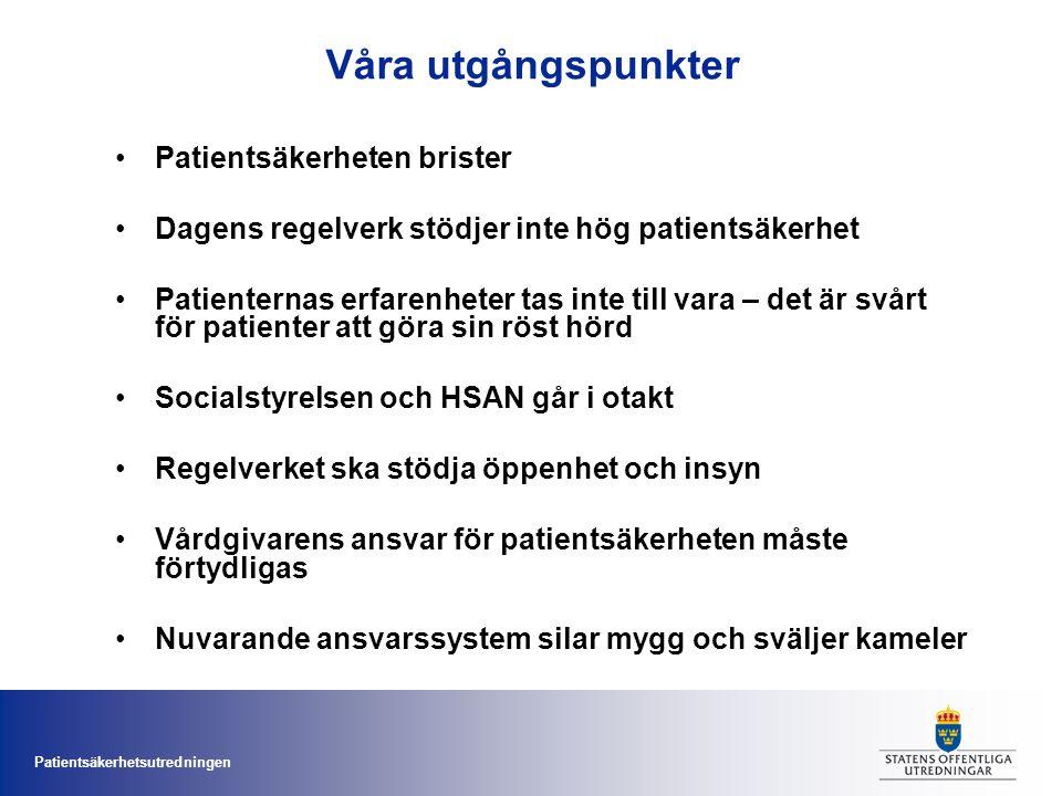 Patientsäkerhetsutredningen Förslagen En ny lag – lag om patientsäkerhet m.m.