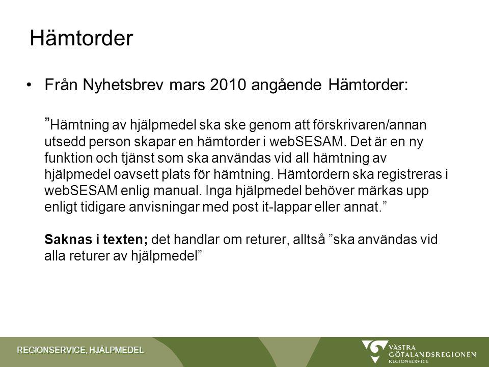 REGIONSERVICE, HJÄLPMEDEL Upphandlingar & sortimentsförändringar Upphandling- Statisk toppmadrass –Utannonserad - anbudstiden går ut 1 december.