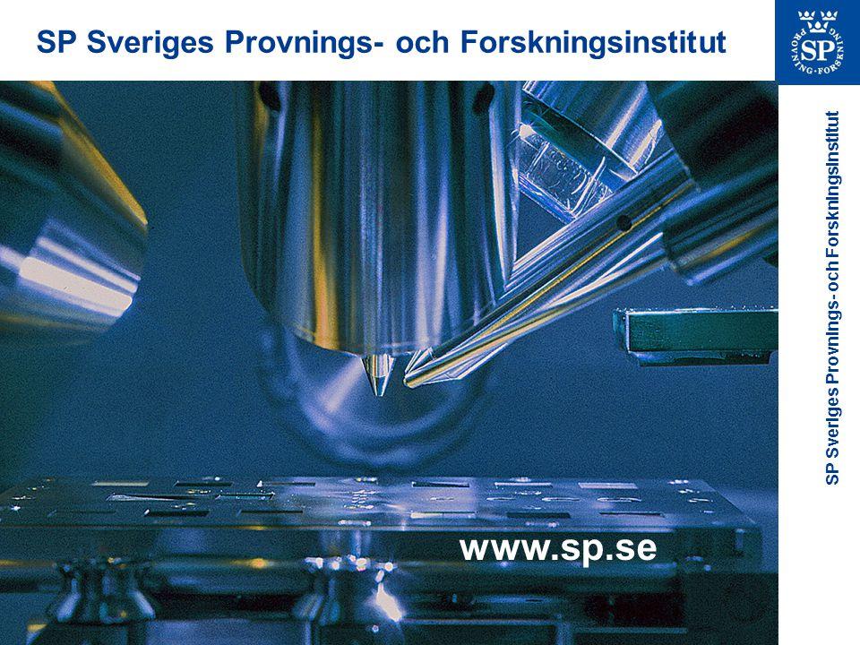 SP Sveriges Provnings- och Forskningsinstitut www.sp.se