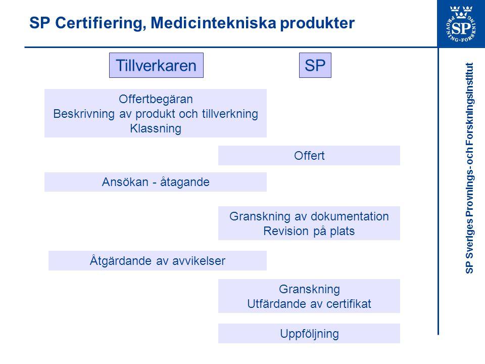 SP Sveriges Provnings- och Forskningsinstitut SP Certifiering, Medicintekniska produkter Offertbegäran Beskrivning av produkt och tillverkning Klassni