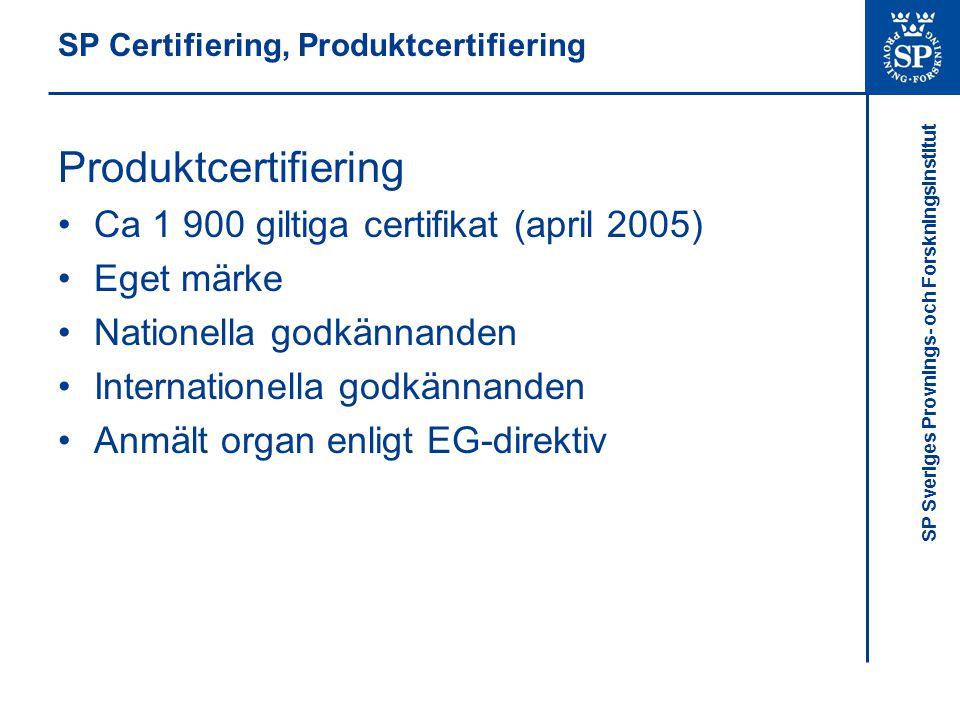 SP Sveriges Provnings- och Forskningsinstitut SP Certifiering, Produktcertifiering Produktcertifiering Ca 1 900 giltiga certifikat (april 2005) Eget m