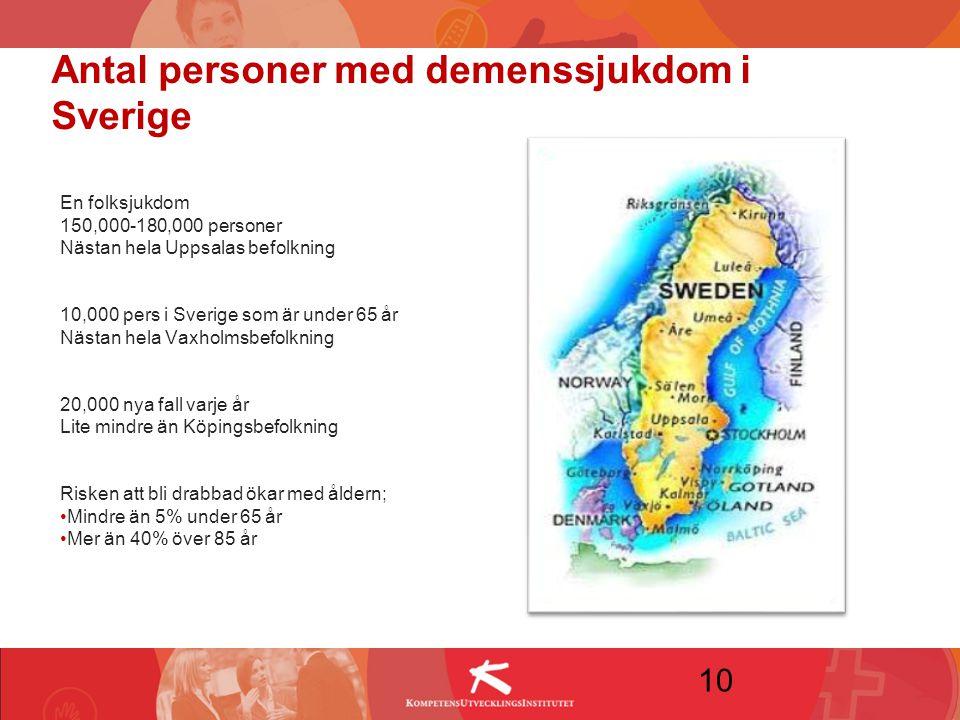 Antal personer med demenssjukdom i Sverige En folksjukdom 150,000-180,000 personer Nästan hela Uppsalas befolkning 10,000 pers i Sverige som är under