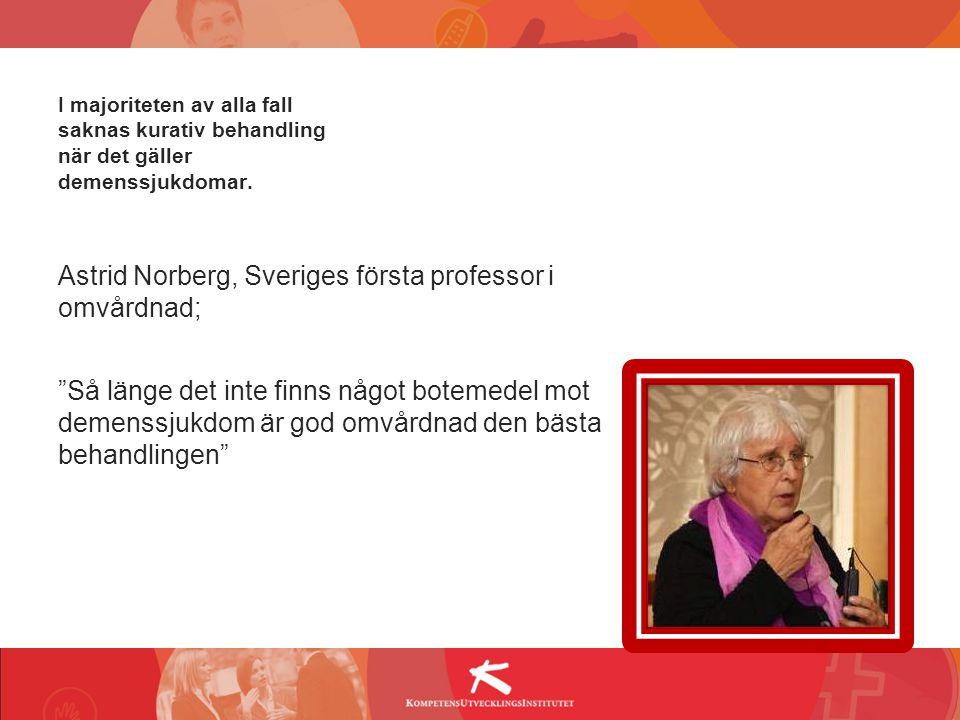 """I majoriteten av alla fall saknas kurativ behandling när det gäller demenssjukdomar. Astrid Norberg, Sveriges första professor i omvårdnad; """"Så länge"""