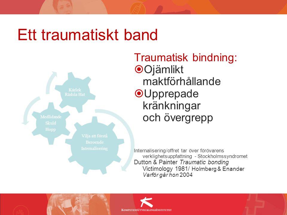Ett traumatiskt band Traumatisk bindning:  Ojämlikt maktförhållande  Upprepade kränkningar och övergrepp Internalisering/offret tar över förövarens