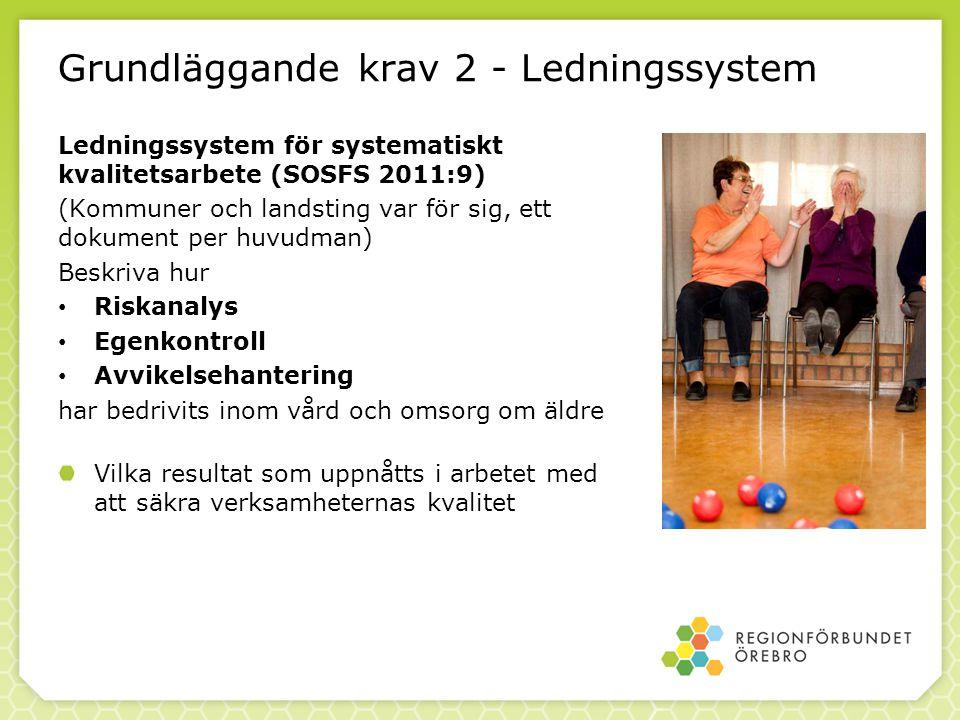 Grundläggande krav 2 - Ledningssystem Ledningssystem för systematiskt kvalitetsarbete (SOSFS 2011:9) (Kommuner och landsting var för sig, ett dokument