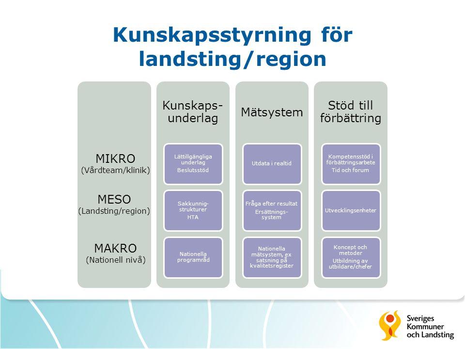 Målen för en utvecklad kunskapsstyrning Kunskapsbaserad och jämlik hälso- och sjukvård Snabbare och samma tillgång till nya effektiva läkemedel och metoder Effektivt resursutnyttjande Bättre samarbete och samordning nationellt, regionalt och lokalt