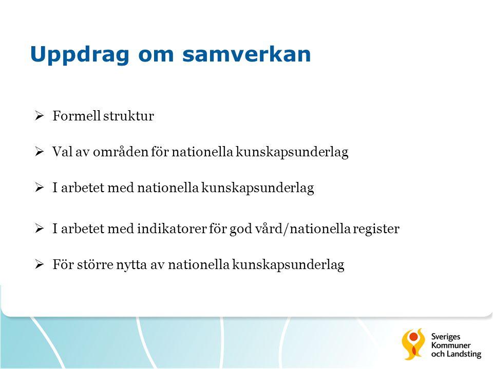 Uppdrag om samverkan  Formell struktur  Val av områden för nationella kunskapsunderlag  I arbetet med nationella kunskapsunderlag  I arbetet med i