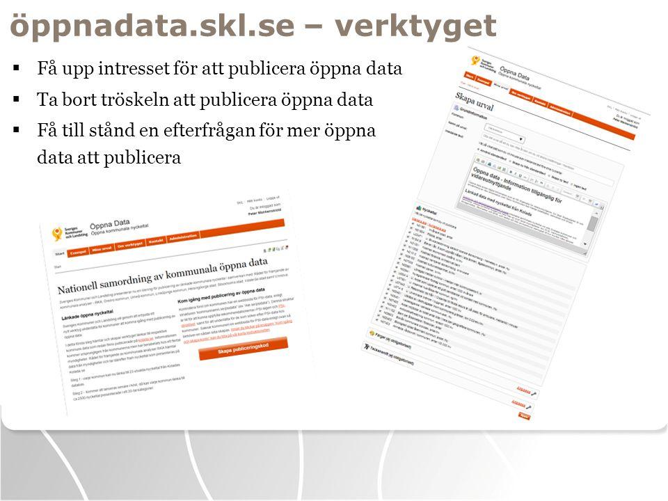 öppnadata.skl.se – verktyget  Få upp intresset för att publicera öppna data  Ta bort tröskeln att publicera öppna data  Få till stånd en efterfråga