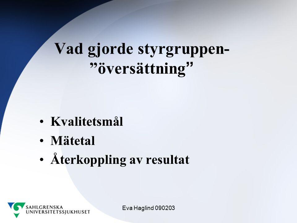 """Eva Haglind 090203 Vad gjorde styrgruppen- """"översättning """" Kvalitetsmål Mätetal Återkoppling av resultat"""