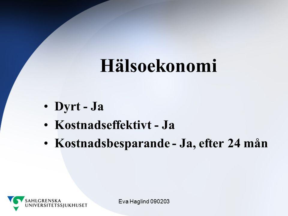 Eva Haglind 090203 Hälsoekonomi Dyrt - Ja Kostnadseffektivt - Ja Kostnadsbesparande - Ja, efter 24 mån