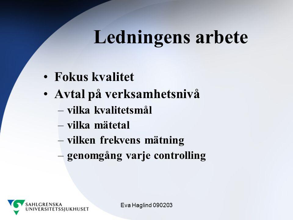 Eva Haglind 090203 Ledningens arbete Fokus kvalitet Avtal på verksamhetsnivå –vilka kvalitetsmål –vilka mätetal –vilken frekvens mätning –genomgång va