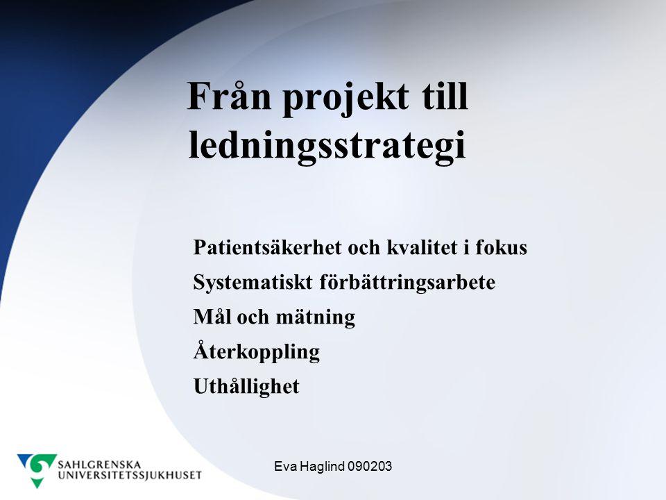 Eva Haglind 090203 Från projekt till ledningsstrategi Patientsäkerhet och kvalitet i fokus Systematiskt förbättringsarbete Mål och mätning Återkopplin
