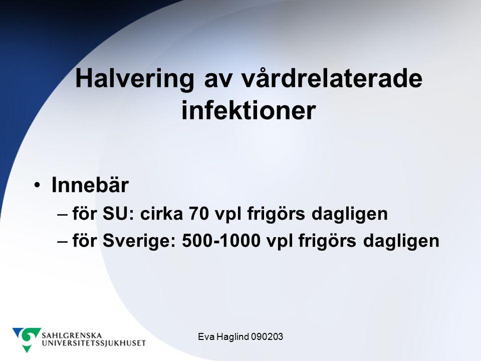 Eva Haglind 090203 Halvering av vårdrelaterade infektioner Innebär –för SU: cirka 70 vpl frigörs dagligen –för Sverige: 500-1000 vpl frigörs dagligen