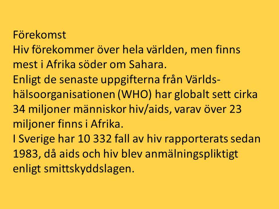 Förekomst Hiv förekommer över hela världen, men finns mest i Afrika söder om Sahara. Enligt de senaste uppgifterna från Världs- hälsoorganisationen (W