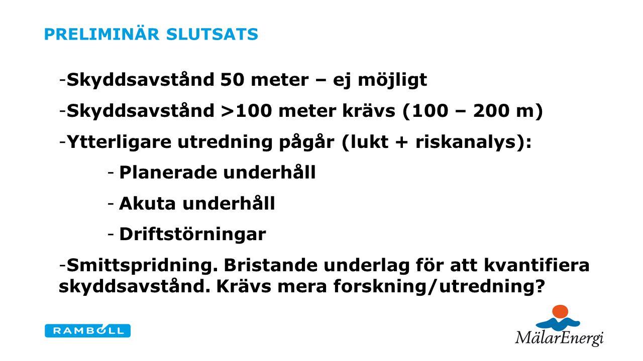 PRELIMINÄR SLUTSATS -Skyddsavstånd 50 meter – ej möjligt -Skyddsavstånd >100 meter krävs (100 – 200 m) -Ytterligare utredning pågår (lukt + riskanalys