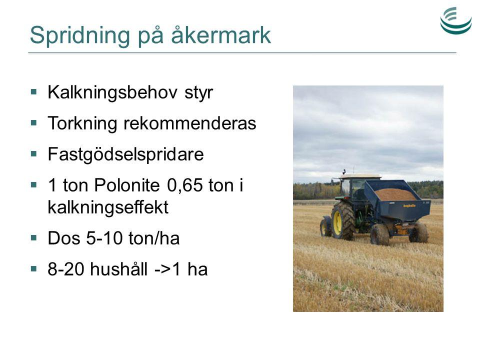 Spridning på åkermark  Kalkningsbehov styr  Torkning rekommenderas  Fastgödselspridare  1 ton Polonite 0,65 ton i kalkningseffekt  Dos 5-10 ton/h