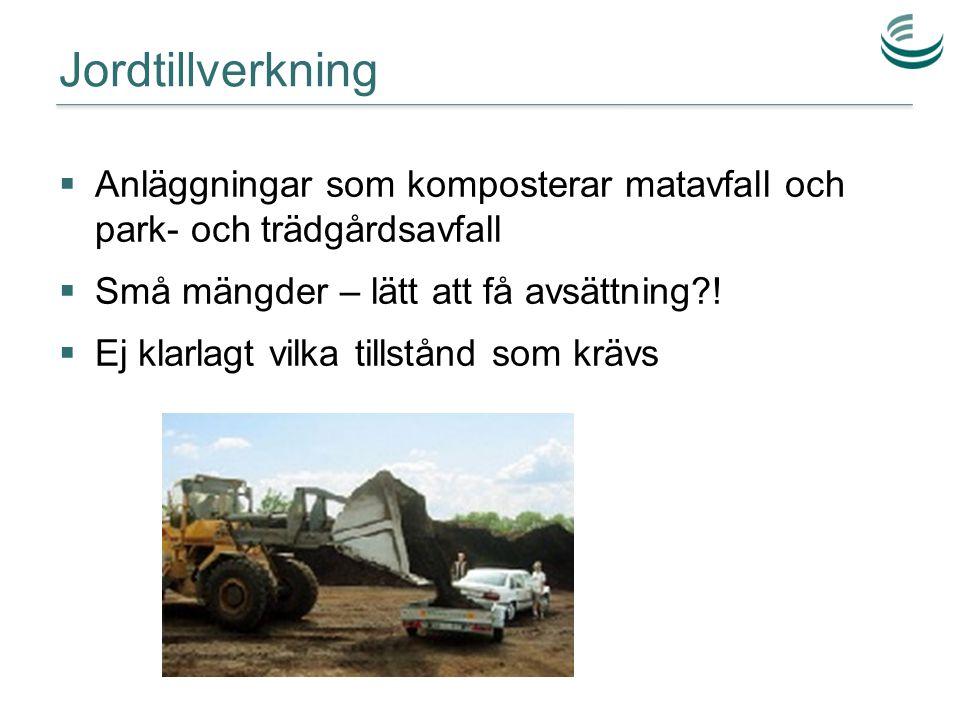 Jordtillverkning  Anläggningar som komposterar matavfall och park- och trädgårdsavfall  Små mängder – lätt att få avsättning?!  Ej klarlagt vilka t