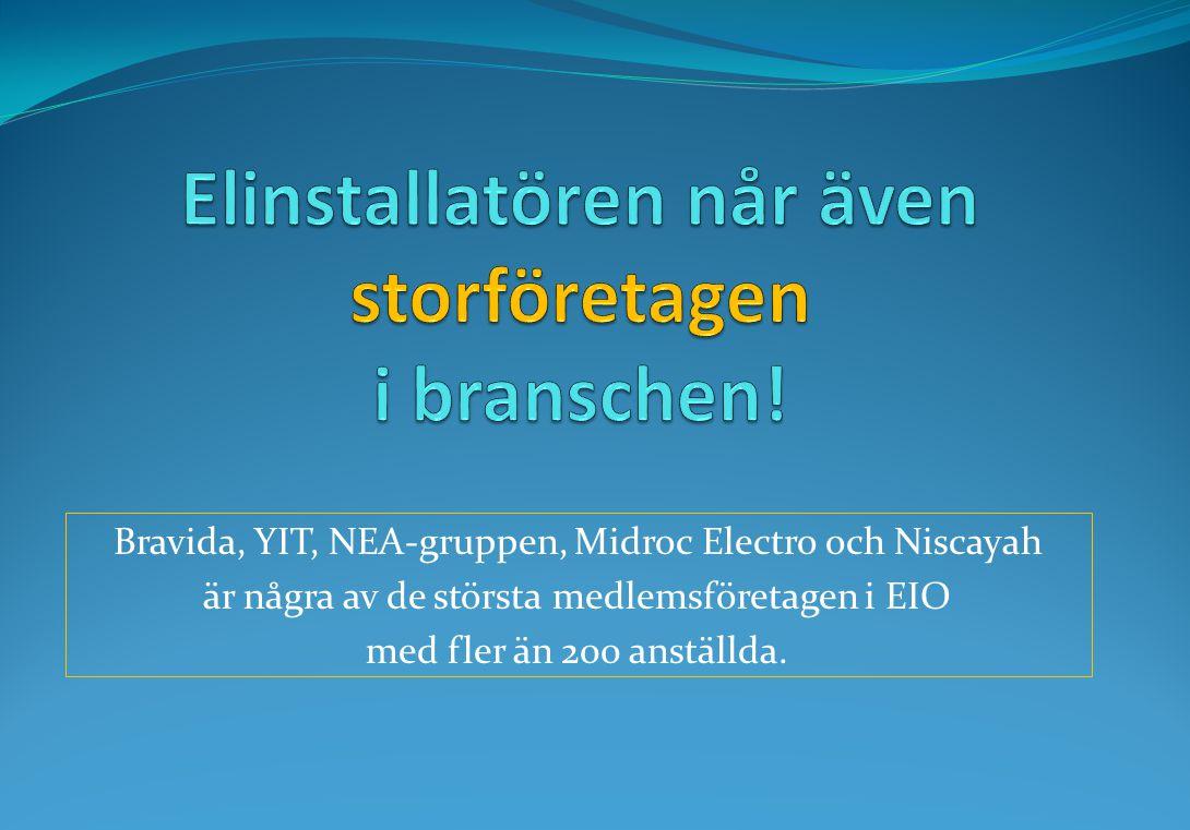 Bravida, YIT, NEA-gruppen, Midroc Electro och Niscayah är några av de största medlemsföretagen i EIO med fler än 200 anställda.