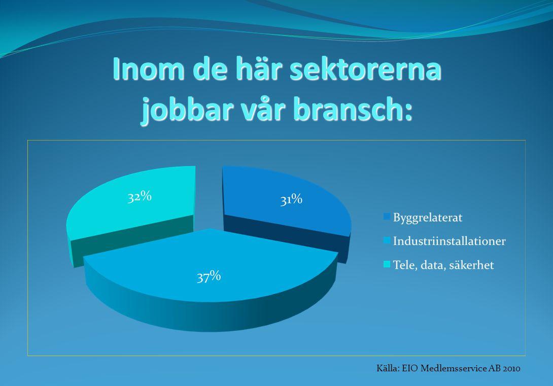 Inom de här sektorerna jobbar vår bransch: Källa: EIO Medlemsservice AB 2010