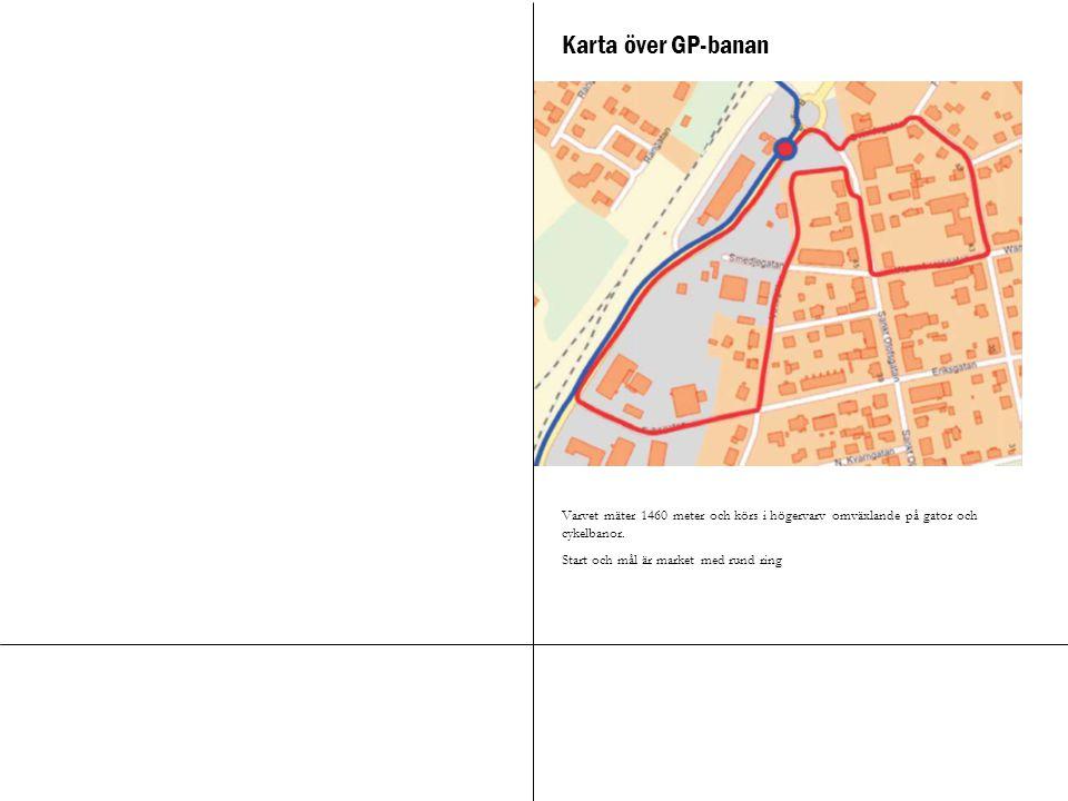 Karta över GP-banan Varvet mäter 1460 meter och körs i högervarv omväxlande på gator och cykelbanor. Start och mål är market med rund ring