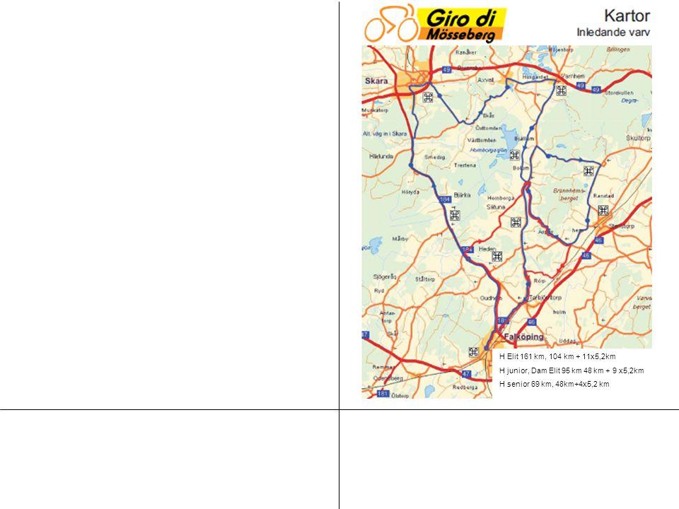 H Elit 161 km, 104 km + 11x5,2km H junior, Dam Elit 95 km 48 km + 9 x5,2km H senior 69 km, 48km+4x5,2 km