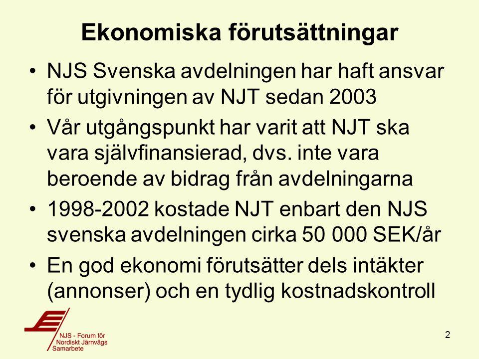 2 Ekonomiska förutsättningar NJS Svenska avdelningen har haft ansvar för utgivningen av NJT sedan 2003 Vår utgångspunkt har varit att NJT ska vara självfinansierad, dvs.