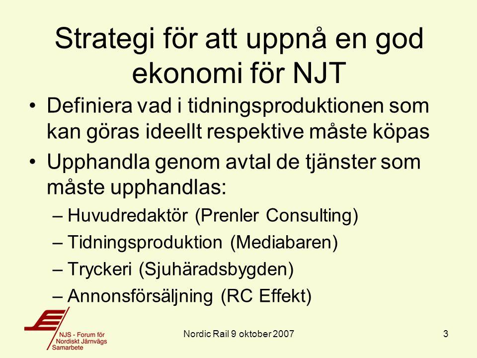 Annonsförsäljning Annonsförsäljningen utgör NJT:s viktigaste inkomstkälla Motivet att annonsera i NJT är främst att stödja NJS' verksamhet, reklamvärdet är begränsat då upplagan ( 3000 ex) är låg Cirka 80 procent av annonsintäkterna genereras av svenska företag - obalans En effektiv annonsförsäljning kräver: –En driven annonssäljare –Ett etablerat kontaktnät inom respektive land Nordic Rail 9 oktober 20074