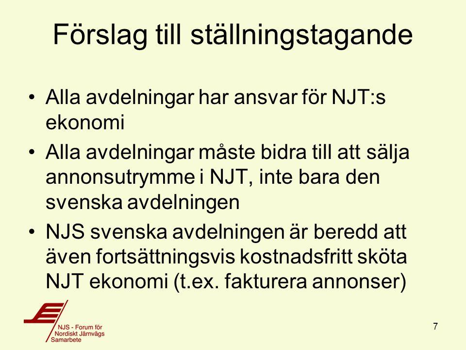 Förslag till ställningstagande Alla avdelningar har ansvar för NJT:s ekonomi Alla avdelningar måste bidra till att sälja annonsutrymme i NJT, inte bara den svenska avdelningen NJS svenska avdelningen är beredd att även fortsättningsvis kostnadsfritt sköta NJT ekonomi (t.ex.
