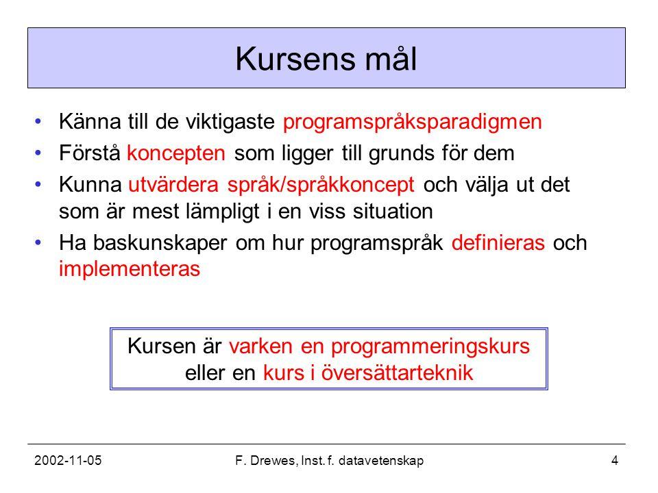 2002-11-05F.Drewes, Inst. f. datavetenskap5 Varför programspråksteori.