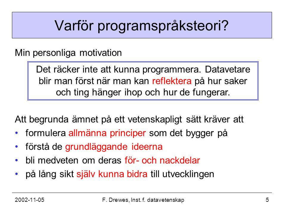 2002-11-05F. Drewes, Inst. f. datavetenskap5 Varför programspråksteori? Min personliga motivation Det räcker inte att kunna programmera. Datavetare bl