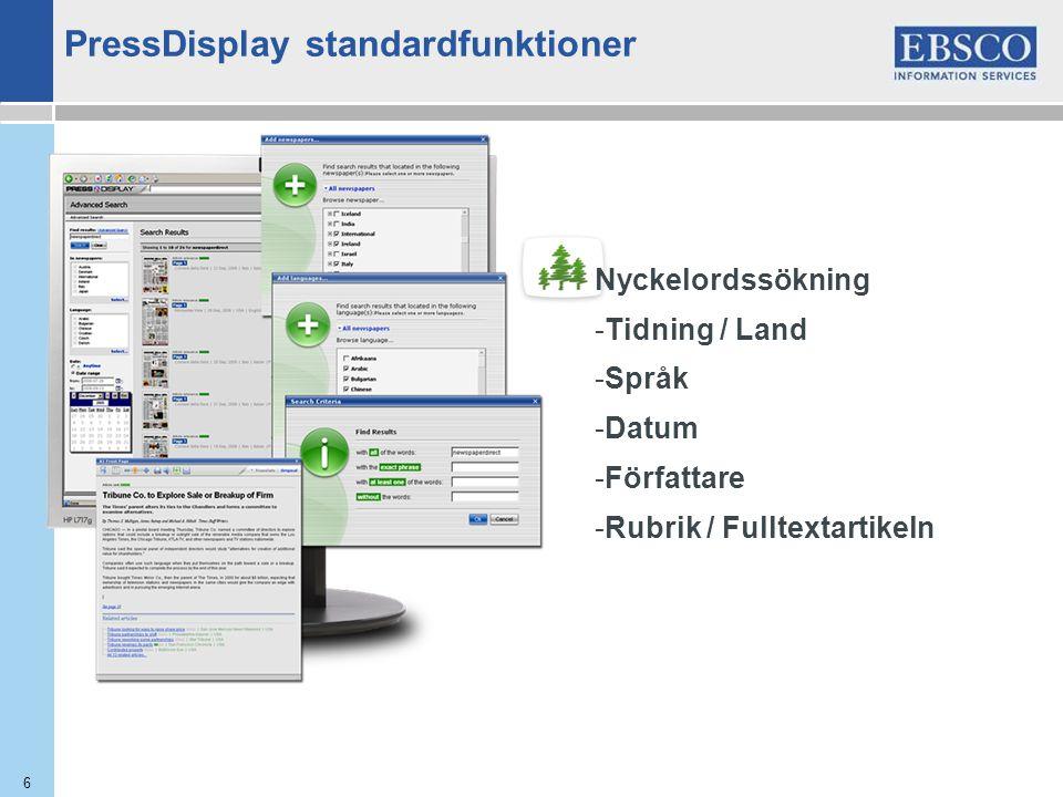 6 Nyckelordssökning -Tidning / Land -Språk -Datum -Författare -Rubrik / Fulltextartikeln PressDisplay standardfunktioner
