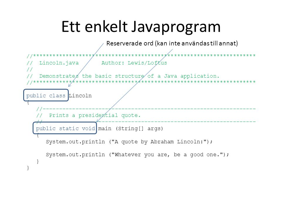 Ett enkelt Javaprogram //******************************************************************** // Lincoln.java Author: Lewis/Loftus // // Demonstrates the basic structure of a Java application.